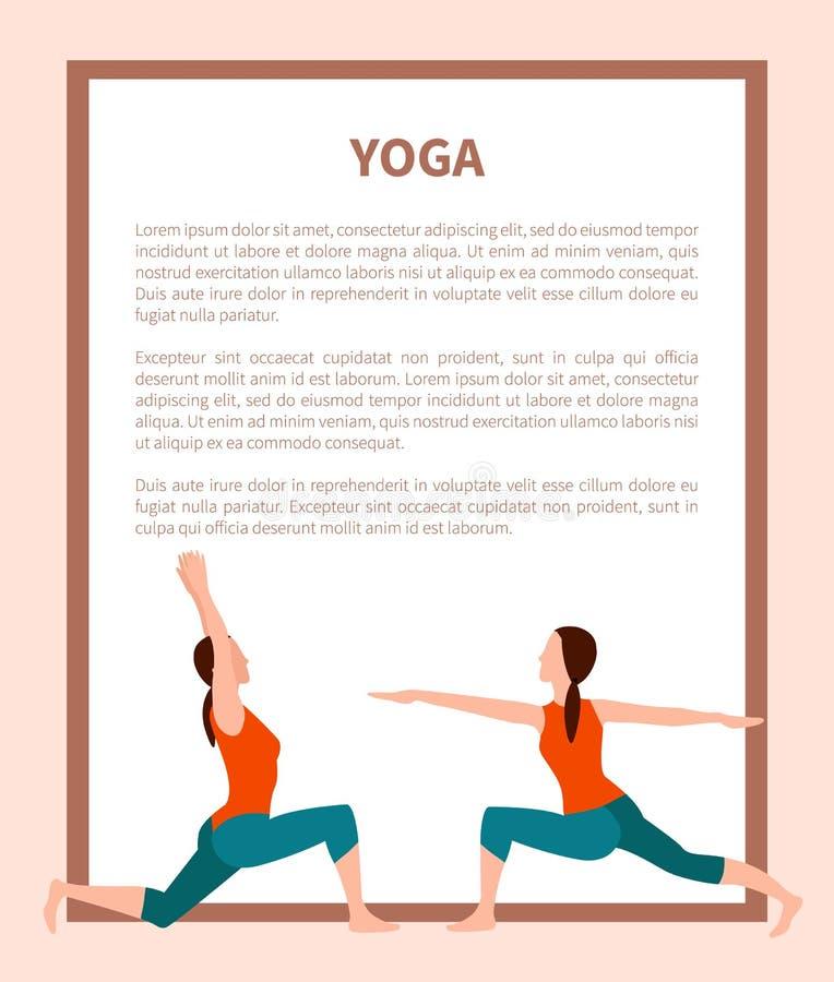Cartaz do vetor da ioga, ícones desportivos da menina, cartão da cor ilustração do vetor