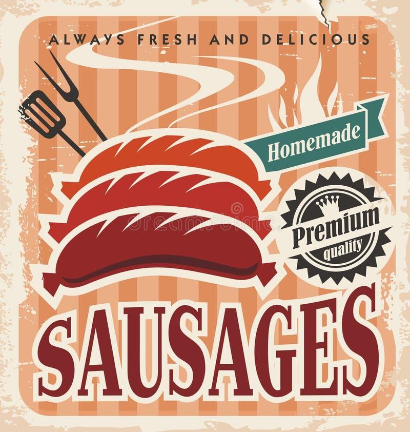 Cartaz do vetor das salsichas do vintage ilustração royalty free