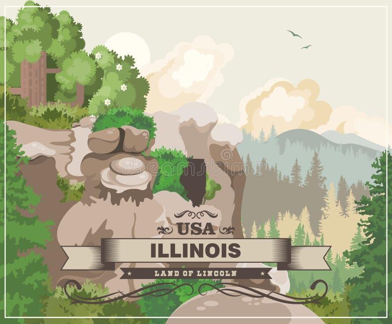 Cartaz do vetor de Illinois Terra de Lincoln Estado de E.U. Estados Unidos da América ilustração do vetor