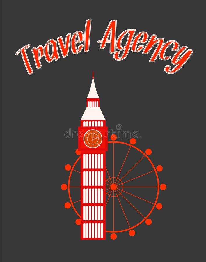 Cartaz do vetor de Minimalistic da agência de viagens com texto ilustração stock