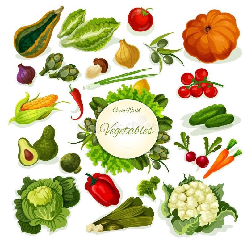 Cartaz do vetor do alimento do vegetariano dos vegetais ilustração stock