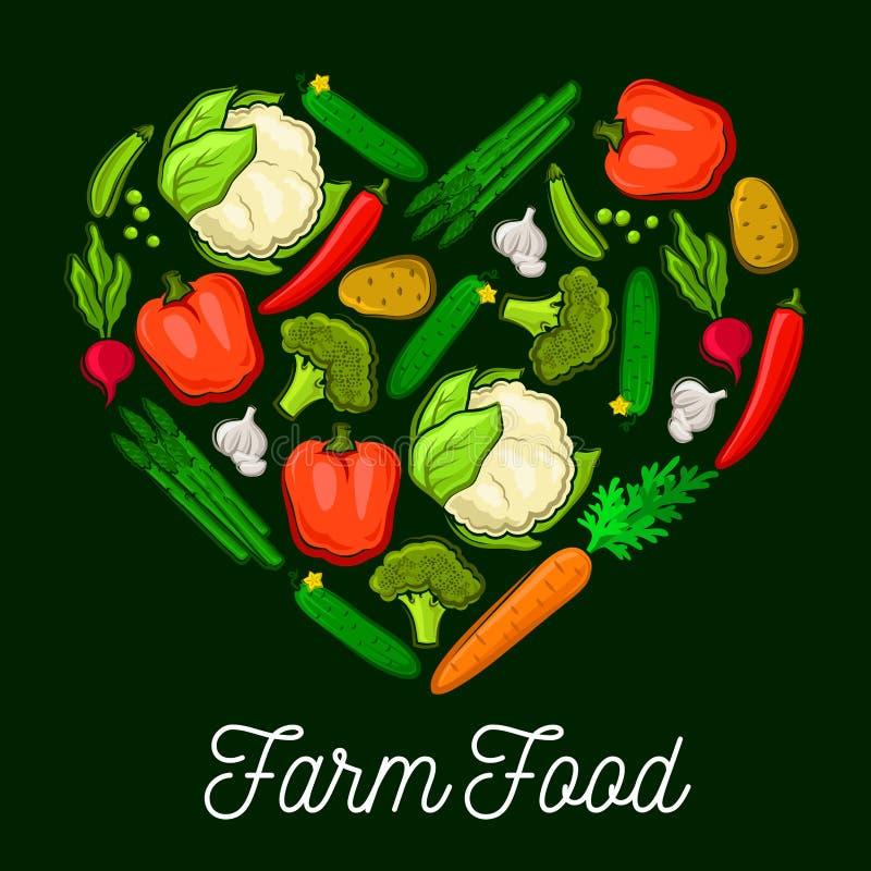Cartaz do vetor do coração do alimento da exploração agrícola dos vegetais ilustração royalty free