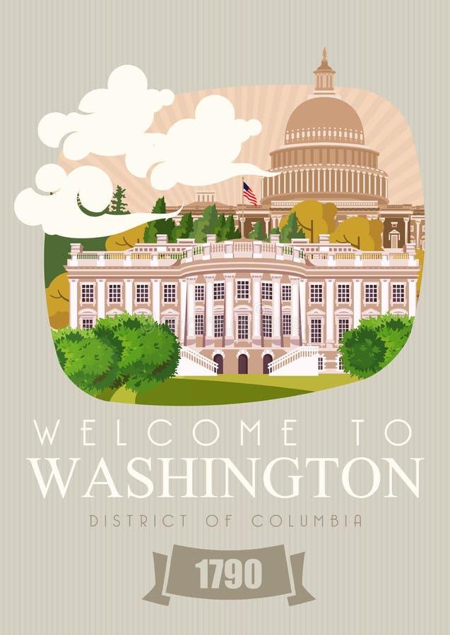 Cartaz do vetor do distrito de Columbia Ilustração do curso dos EUA Cartão colorido do Estados Unidos da América BOA VINDA A WASH ilustração stock