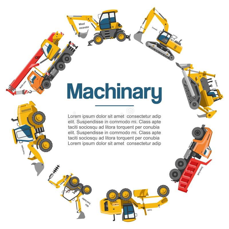 Cartaz do vetor dos carros da maquinaria e do equipamento de construção Máquinas especiais para o trabalho de construção Empilhad ilustração royalty free