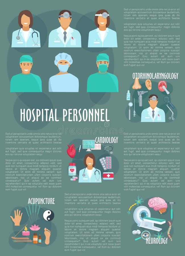 Cartaz do vetor dos cuidados médicos do hospital dos médicos ilustração stock