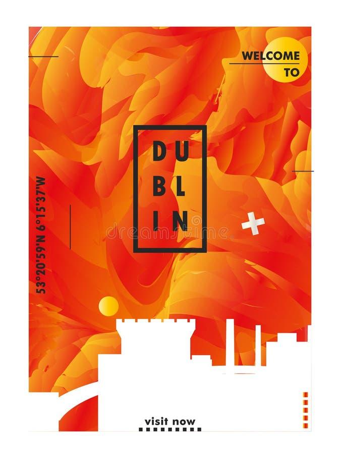 Cartaz do vetor do inclinação da cidade da skyline de Dublin da Irlanda ilustração royalty free