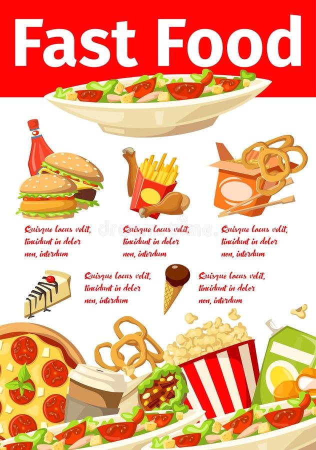 Cartaz do vetor do menu do fast food dos petiscos dos alimentos sem valor nutritivo ilustração do vetor