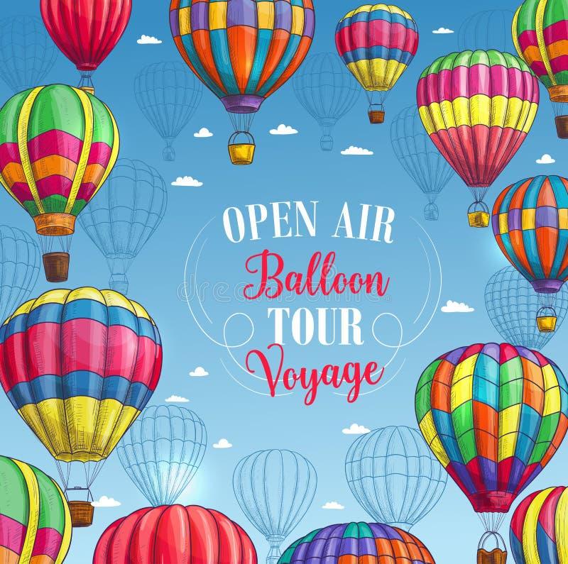 Cartaz do vetor para a excursão da viagem do balão de ar quente ilustração stock