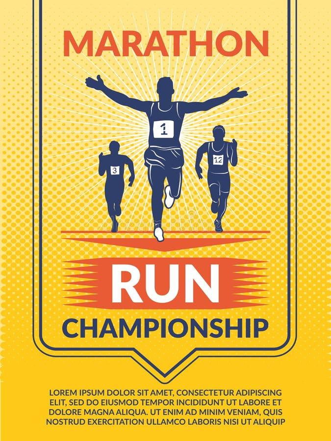 Cartaz do vetor para o clube de esporte Corredores de maratona ilustração stock