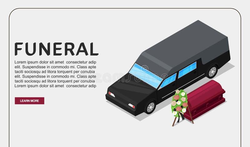 Cartaz do vetor do serviço fúnebre ou molde isométrico da Web no tema da morte Veículo preto do carro fúnebre perto do caixão com ilustração royalty free