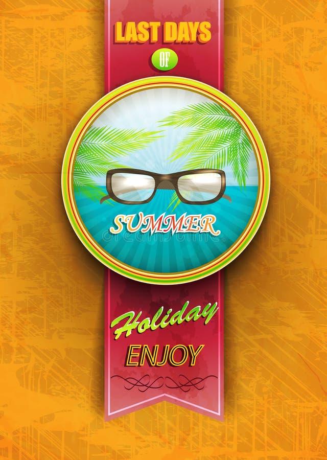 Cartaz do vintage - últimos dias de férias de verão ilustração royalty free
