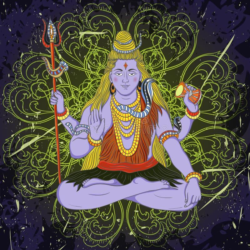 Cartaz do vintage com assento do deus indiano Shiva no fundo do grunge ilustração stock