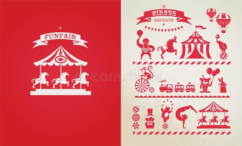 Cartaz do vintage com carnaval, feira de divertimento, circo ilustração do vetor