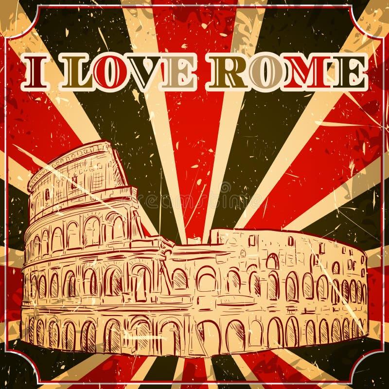 Cartaz do vintage com o Colosseum no fundo do grunge Ilustração retro no estilo do esboço 'eu amo Roma' ilustração stock