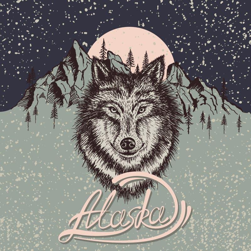 Cartaz do vintage com o lobo no Alaska ilustração stock