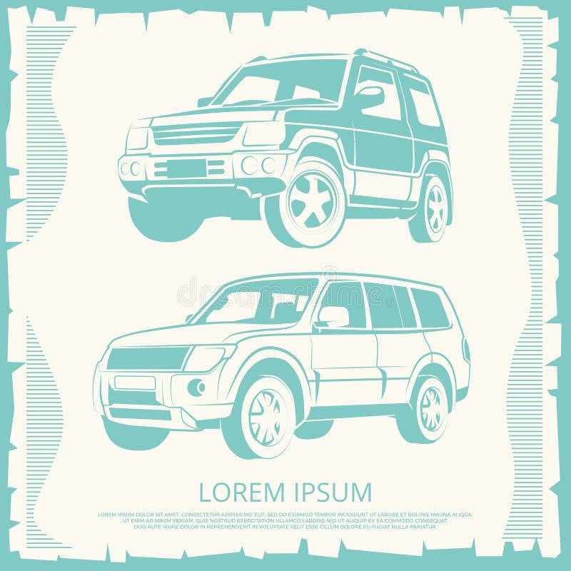 Cartaz do vintage com projeto dos carros do jipe ilustração do vetor