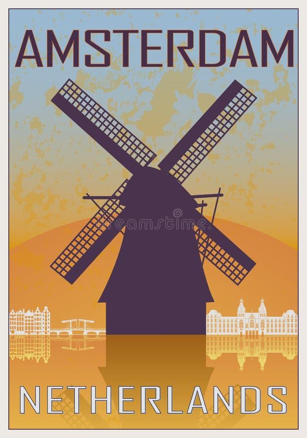 Cartaz do vintage de Amsterdão ilustração royalty free