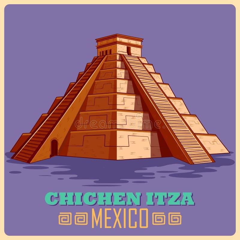 Cartaz do vintage de Chichen Itza no monumento famoso maia em México ilustração do vetor