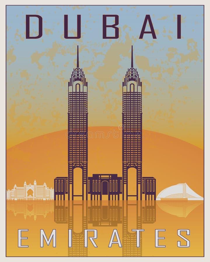 Cartaz do vintage de Dubai ilustração stock