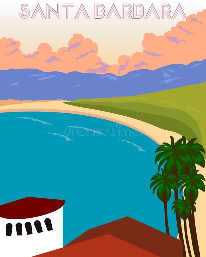Cartaz do vintage de Santa Barbara Ilustração do vetor ilustração royalty free