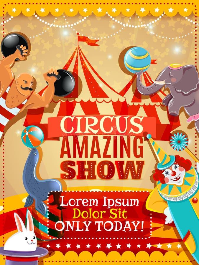 Cartaz do vintage do anúncio do desempenho do circo ilustração stock