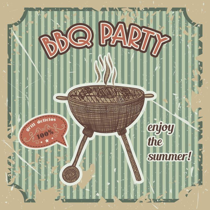 Cartaz do vintage do partido do BBQ com a grade do BBQ no fundo do grunge Mão retro ilustração tirada do vetor ilustração royalty free