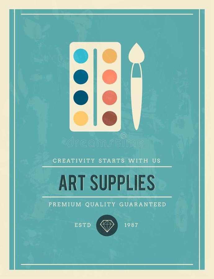 Cartaz do vintage para fontes da arte ilustração do vetor