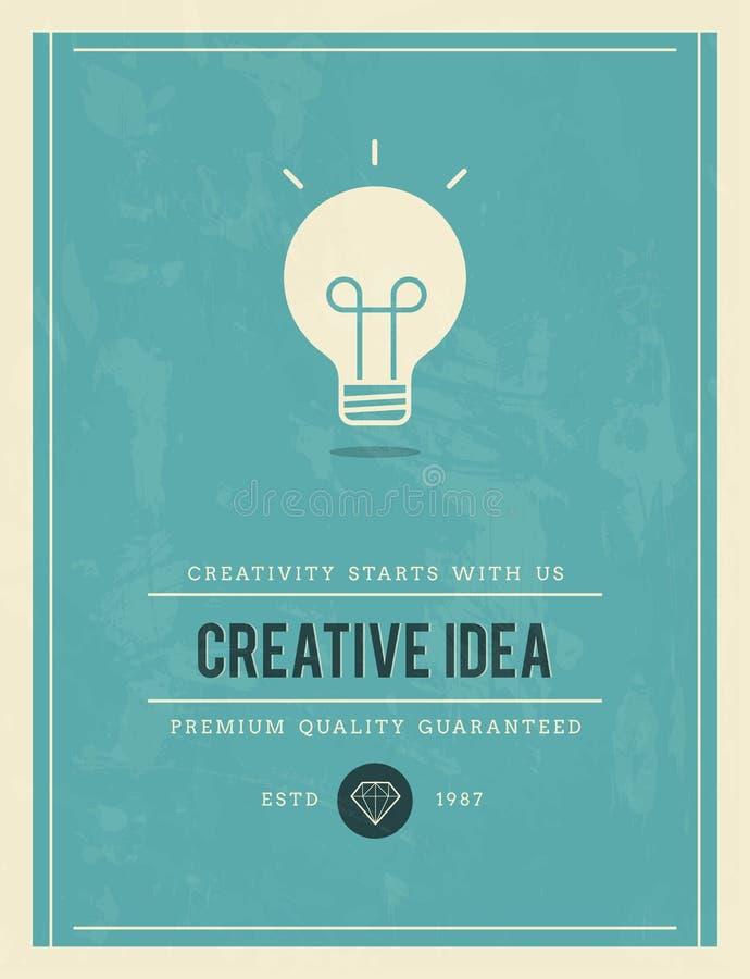 Cartaz do vintage para a ideia criativa ilustração do vetor