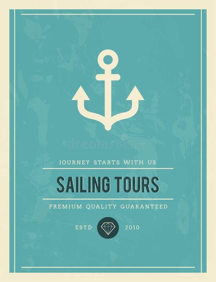 Cartaz do vintage para navegar excursões ilustração do vetor