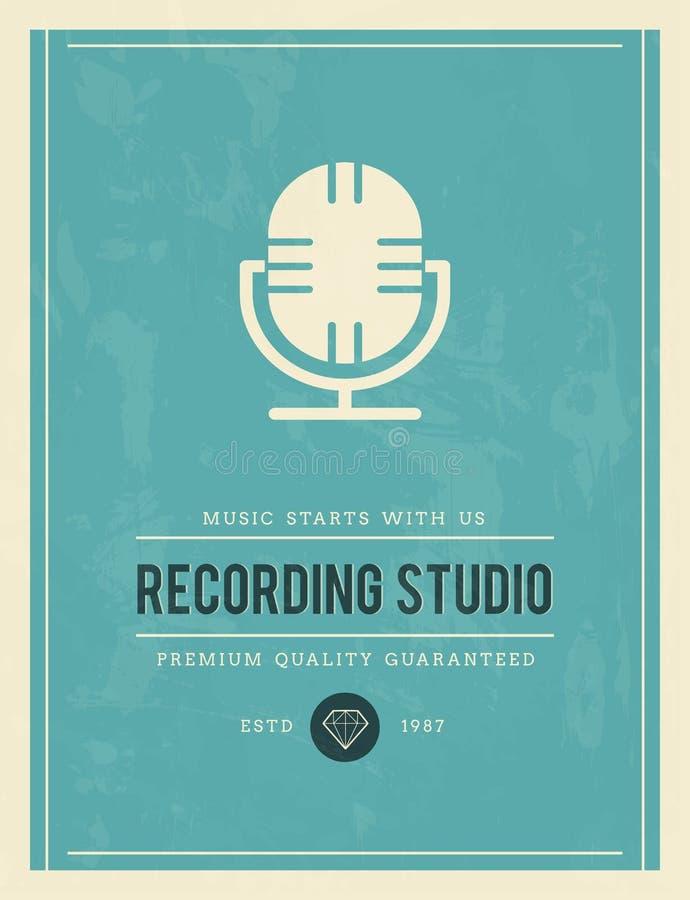 Cartaz do vintage para o estúdio de gravação ilustração do vetor