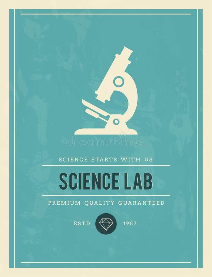 Cartaz do vintage para o laboratório de ciência ilustração stock