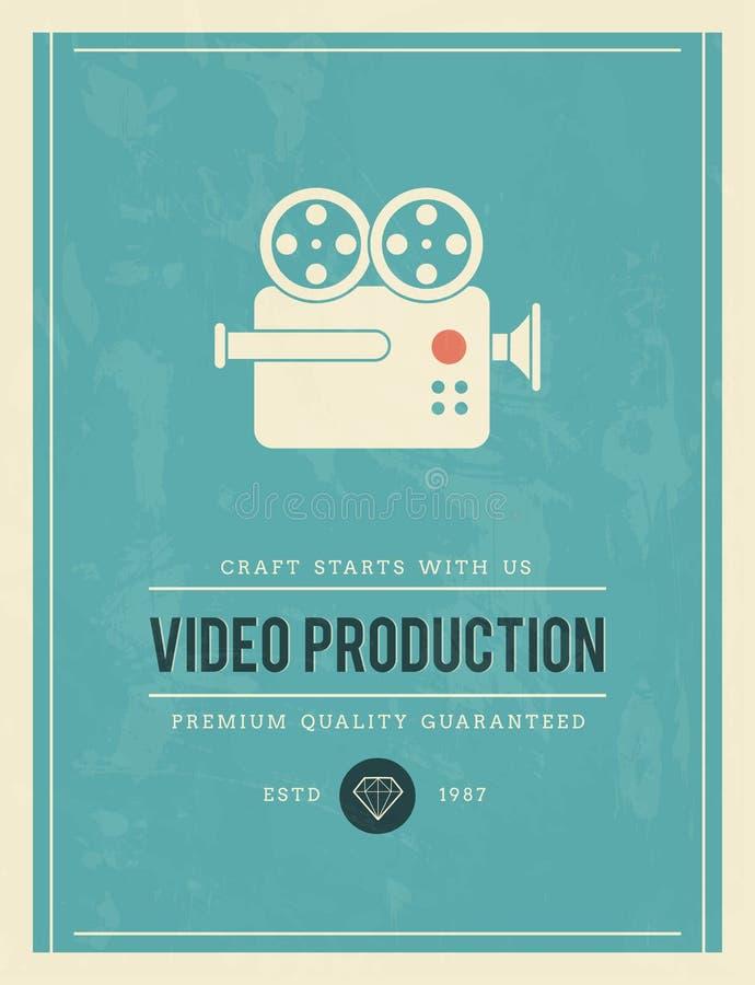 Cartaz do vintage para a produção video ilustração do vetor