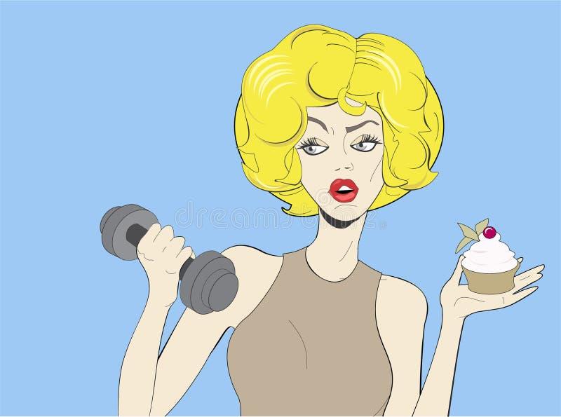 Cartaz do vintage do pop art da mulher loura nova ilustração stock