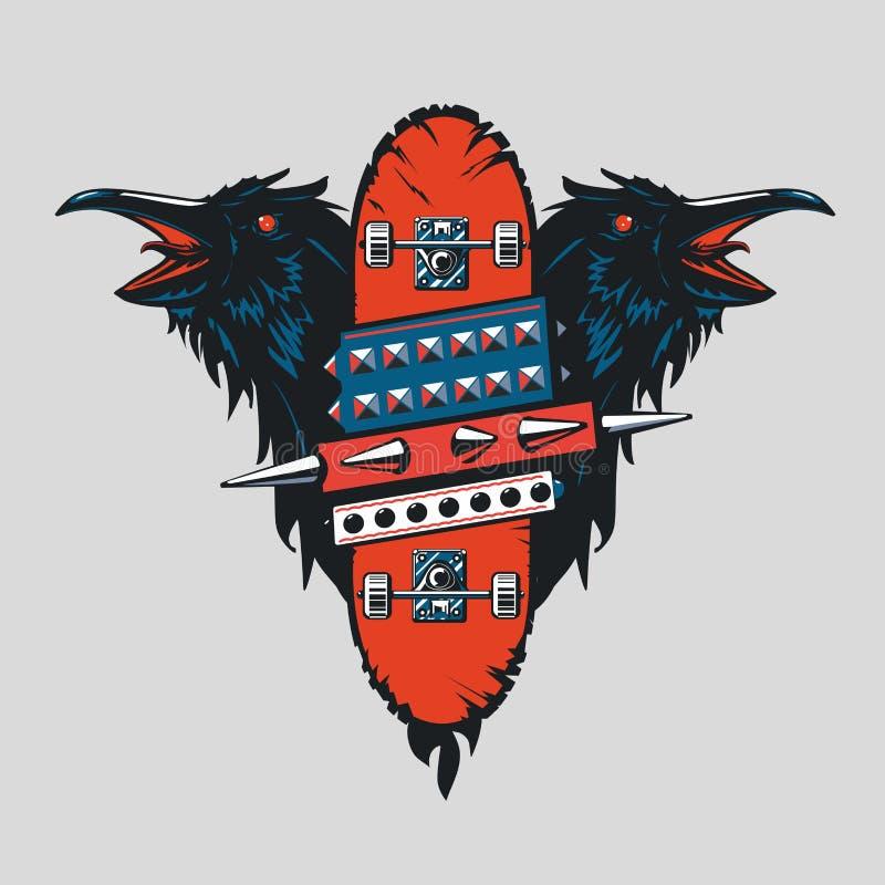 Cartaz do vintage do skate Emblema punk do patim com pássaros Estilo do tatuagem ilustração stock
