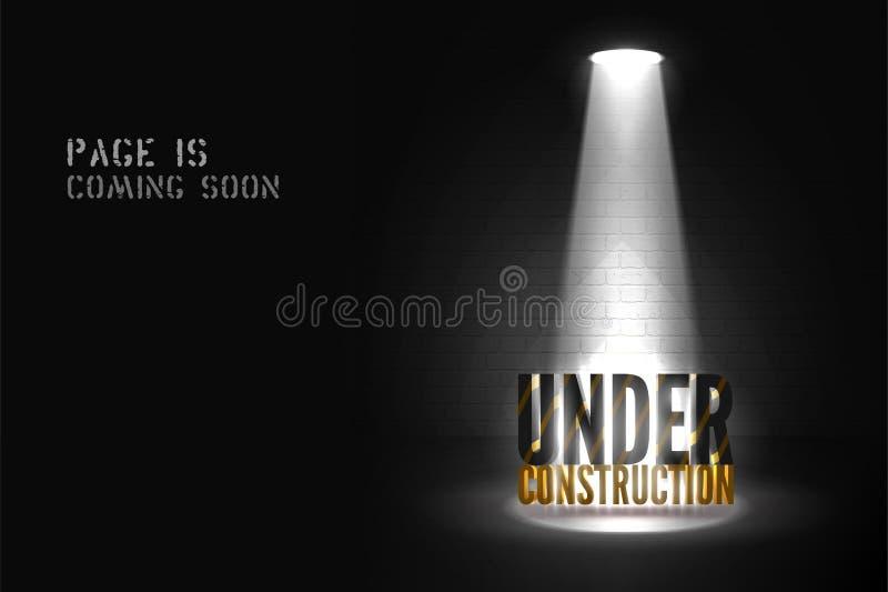 Cartaz do Web page sob o texto da construção 3d na cena clara Vinda logo bandeira do Web site com projetor ilustração stock