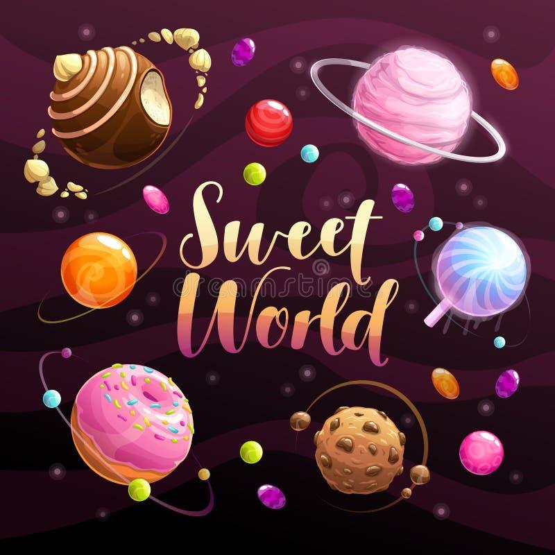 Cartaz doce do mundo Planetas do alimento ajustados no fundo do espaço ilustração do vetor