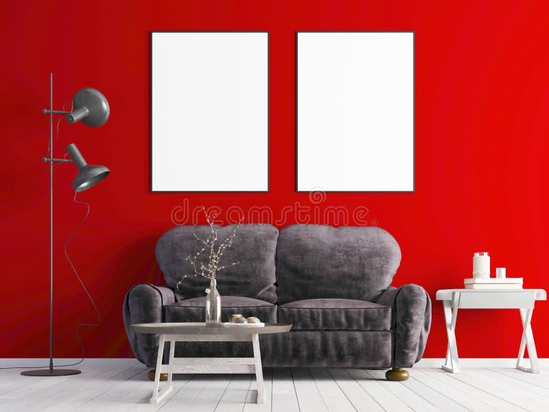Cartaz dois ascendente trocista em uma parede vermelha com um sofá branco em um interior moderno ilustração do vetor