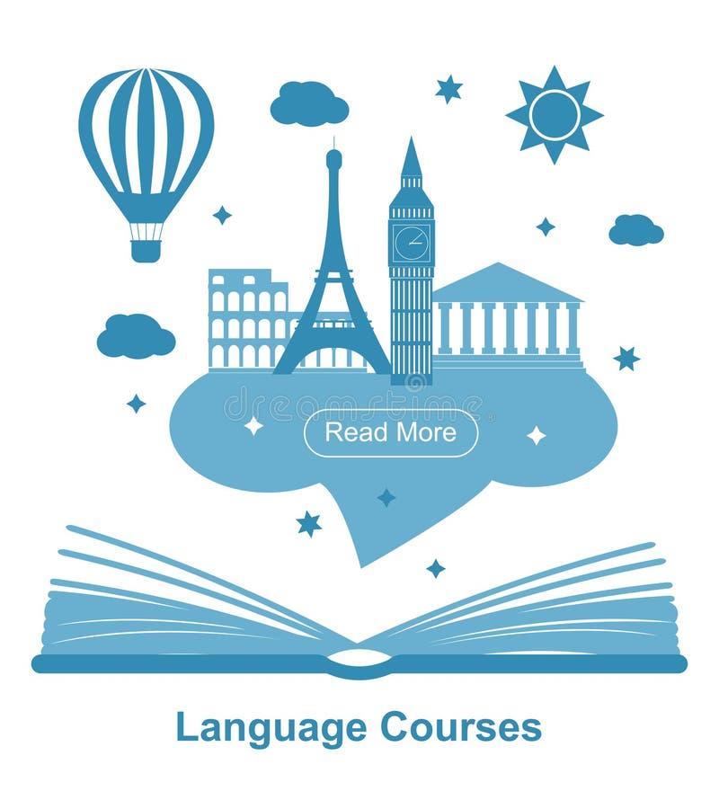 Cartaz dos cursos de línguas ilustração do vetor