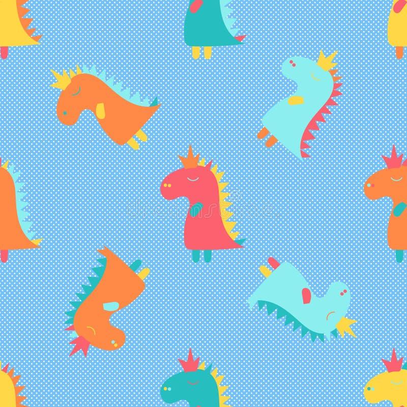 Cartaz dos desenhos animados com teste padr?o colorido do dinossauro do beb? dos desenhos animados para o projeto da bandeira C?p ilustração stock