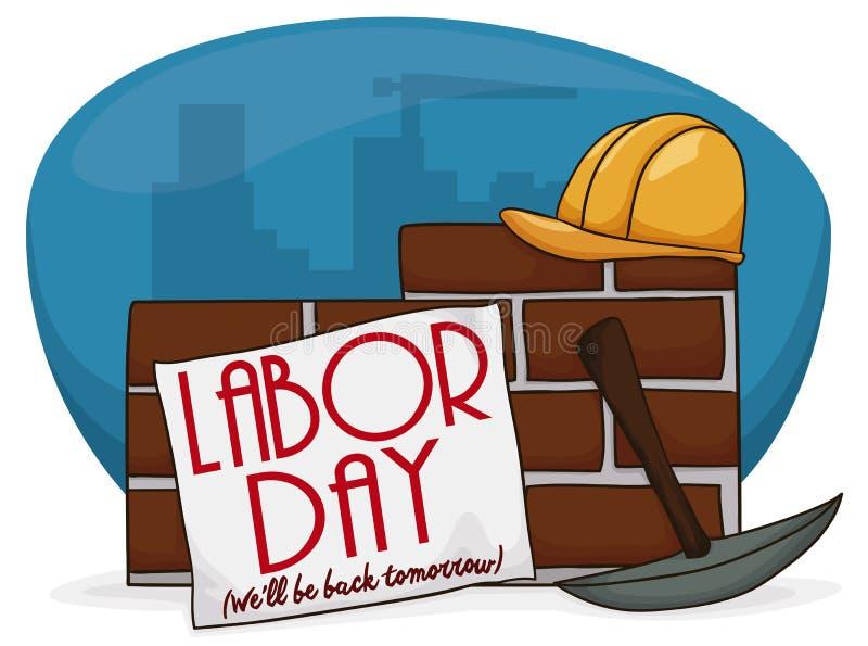 Cartaz dos desenhos animados com um sinal sobre uma parede comemorar o Dia do Trabalhador, ilustração do vetor ilustração stock