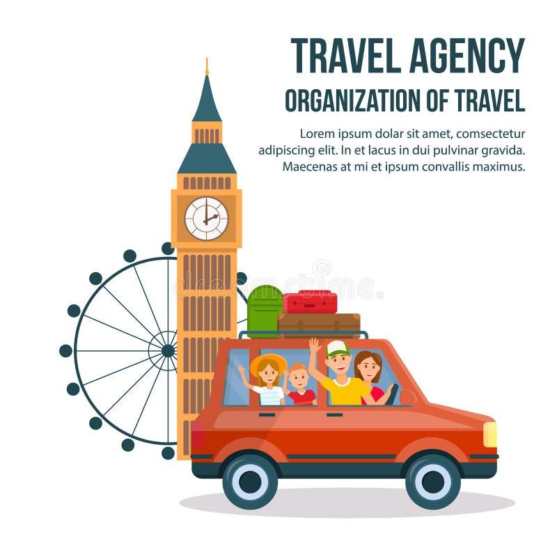 Cartaz dos desenhos animados da excursão Sightseeing de Grâ Bretanha ilustração royalty free