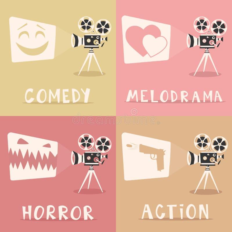Cartaz dos gênero do filme Ilustração do vetor dos desenhos animados Projetor e pipoca de filme ilustração royalty free