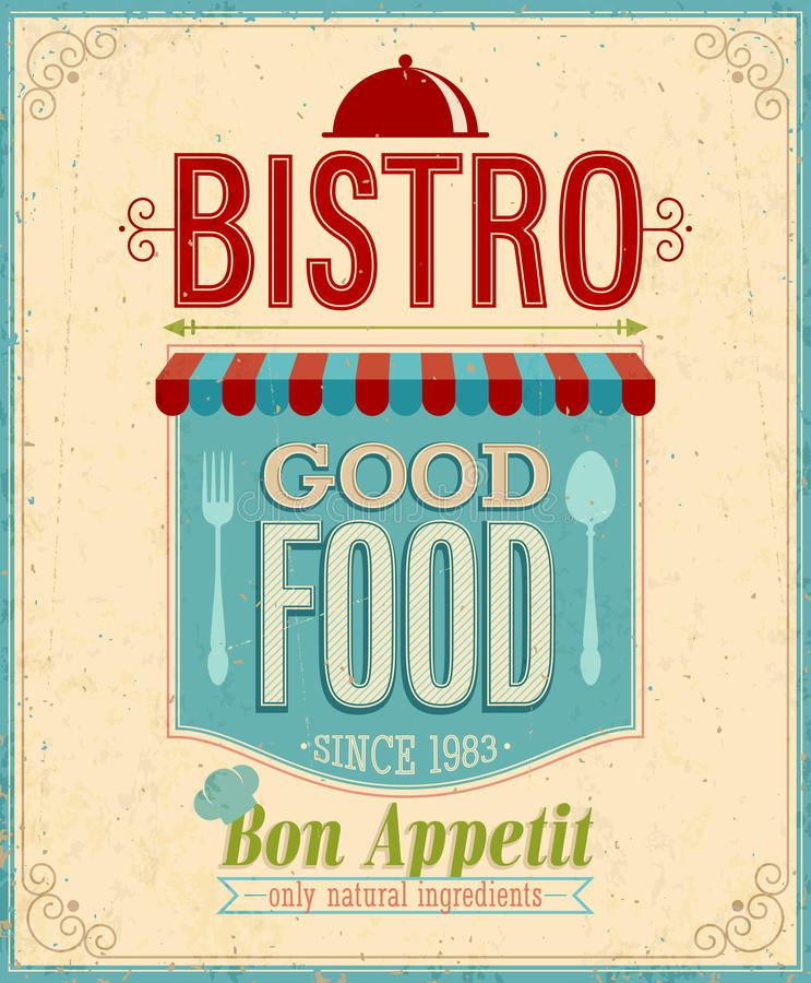 Cartaz dos restaurantes do vintage.