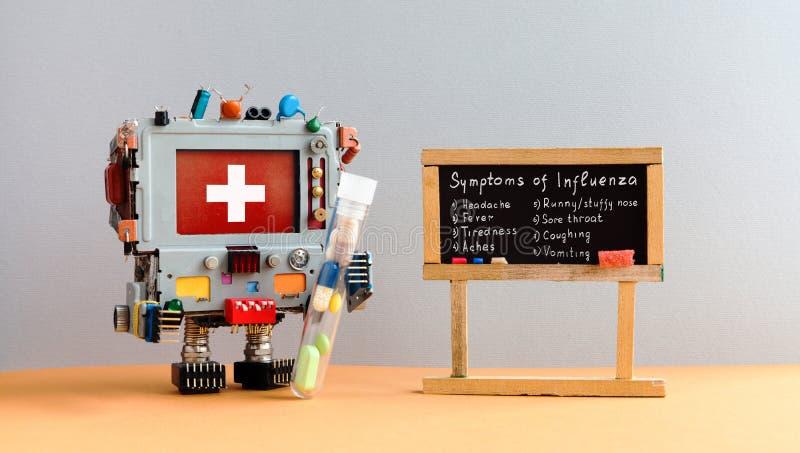Cartaz dos sintomas da estação de gripe O antiviral do robô do médico droga o tubo, quadro com palavras escritas à mão do virus d foto de stock royalty free