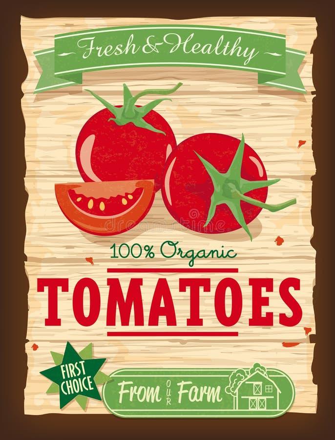Cartaz dos tomates do projeto do vintage ilustração do vetor