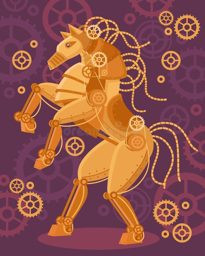 Cartaz dourado do cavalo de Steampunk ilustração royalty free