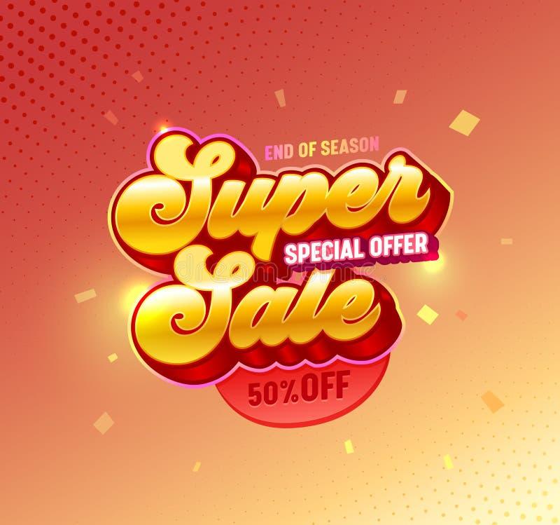 Cartaz dourado super da tipografia da venda 3d Promoção da oferta especial fora do projeto vermelho da bandeira do inclinação do  ilustração royalty free