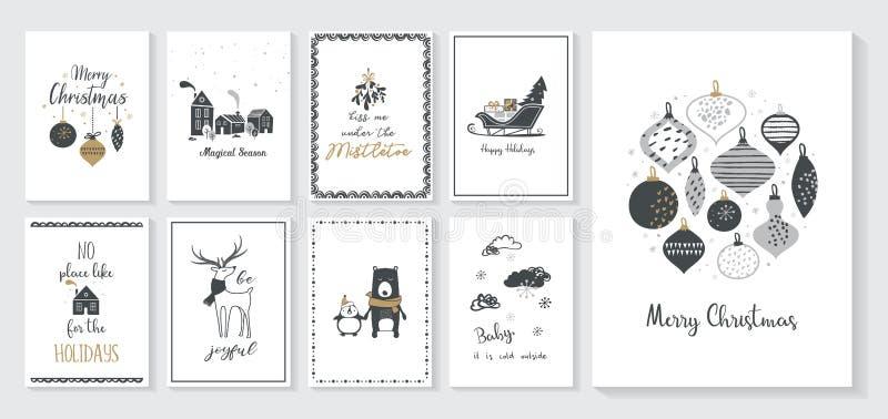 Cartaz e cartões do Natal no estilo escandinavo retro Bolas do Natal nas cores pastel, paisagem do inverno e