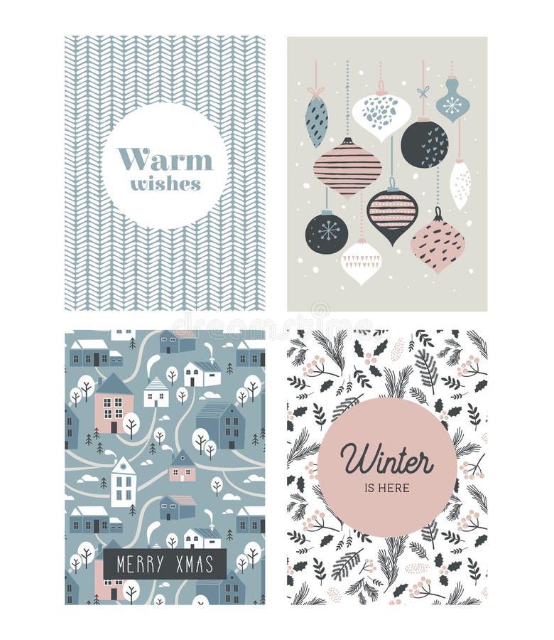 Cartaz e cartões do Natal no estilo retro Bolas do Natal nas cores pastel, na paisagem do inverno e em casas confortáveis ilustração stock