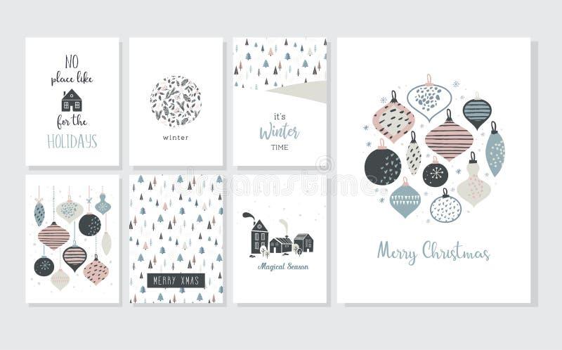 Cartaz e cartões do Natal no estilo retro Bolas do Natal nas cores pastel, na paisagem do inverno e em casas confortáveis